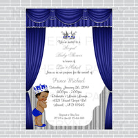 Royal Blue and Silver Little Prince Baby Shower Invite, Curly
