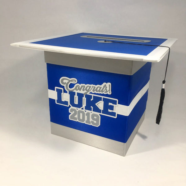 Royal Blue, Silver & White Graduation Card Box
