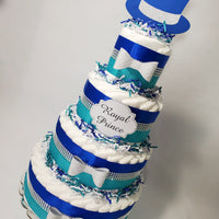 Blue, Teal, & Silver Royal Prince Diaper Cake Centerpiece