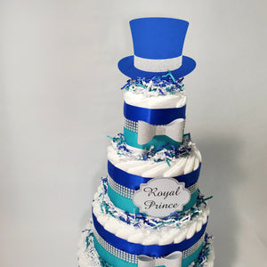 Royal Prince Diaper Cake - Royal Blue, Teal, Silver