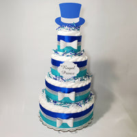 Royal Blue, Teal, & Silver Prince Baby Shower Diaper Cake