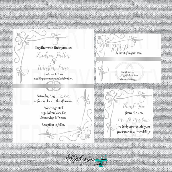 Silver & White Wedding Invitation Set