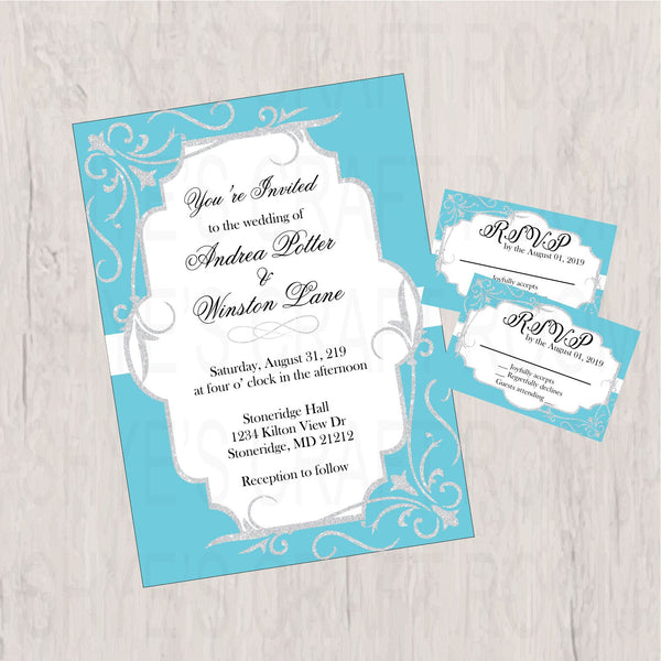 Blue & Silver Wedding Invitation Set