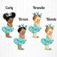Little Princess Candy Bar Labels - Teal, Silver