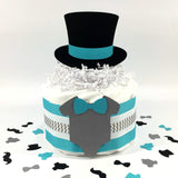 Little Man 1-Tier Diaper Cake - Teal, Gray
