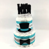 Teal, Black, & Gray Little Man Diaper Cake Centerpiece