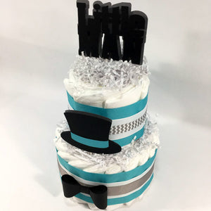 Little Man 2-Tier Diaper Cake - Teal, Gray