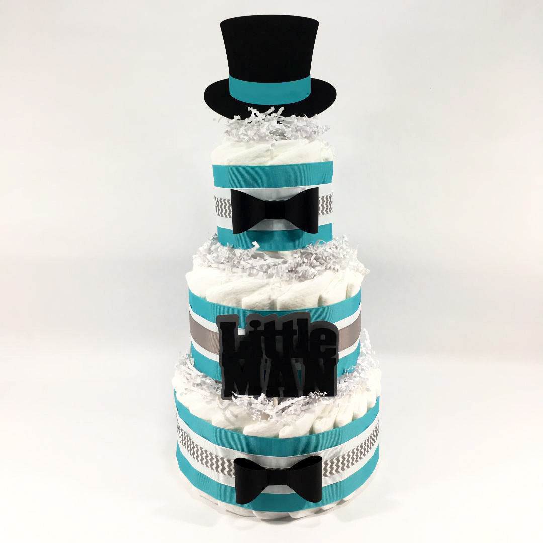 Teal and Gray Little Man Diaper Cake