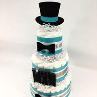 Little Man 3-Tier Diaper Cake - Teal, Gray