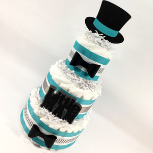 Teal, Gray, & Black Little Man Baby Shower Diaper Cake