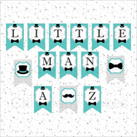 Little Man Banner, Teal & Gray