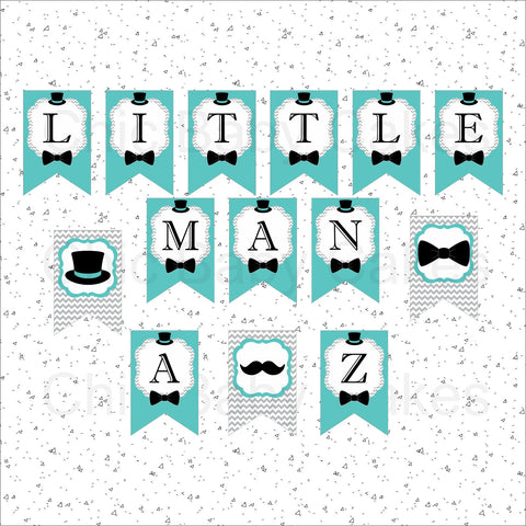 Little Man Banner - Teal, Gray