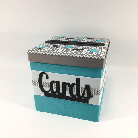 Little Man Card Box - Teal, Gray