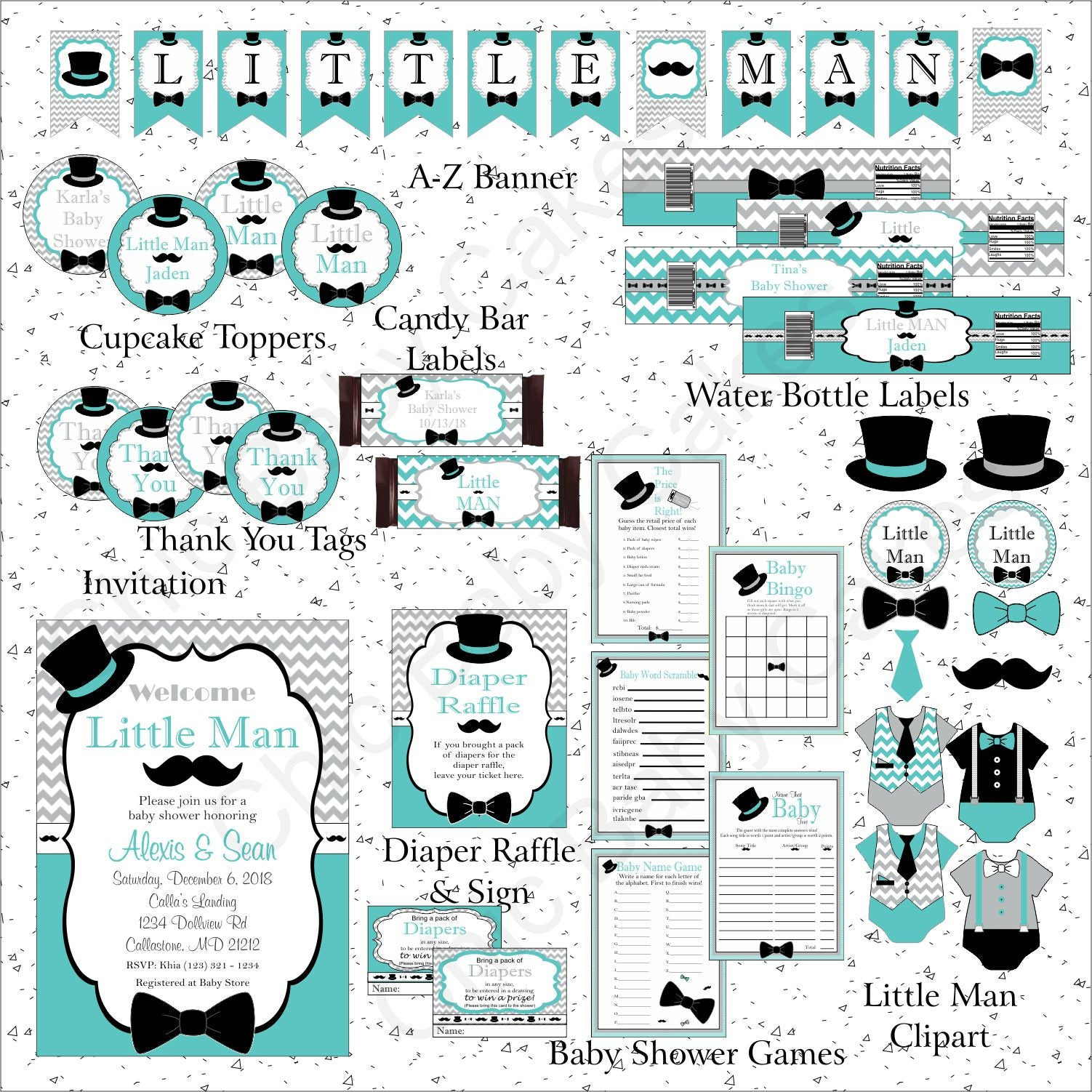 Printable Little Man Decoration Pack - Teal, Gray