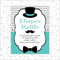 Teal & Gray Little Man Baby Shower Diaper Raffle Sign