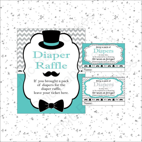 Little Man Diaper Raffle Set - Teal, Gray, Black