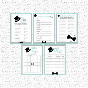 Little Man Baby Shower Games, Teal & Gray