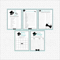 Teal & Gray Little Man Baby Shower Games