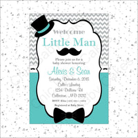 Teal & Gray Little Man Baby Shower Invitation