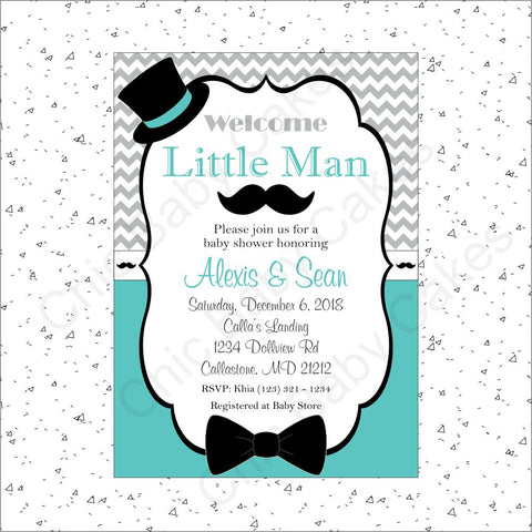 Little Man Invitation - Teal, Gray, Black