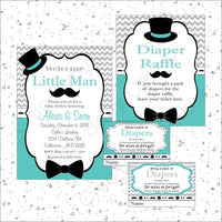 Little Man Invite & Diaper Raffle, Teal & Gray
