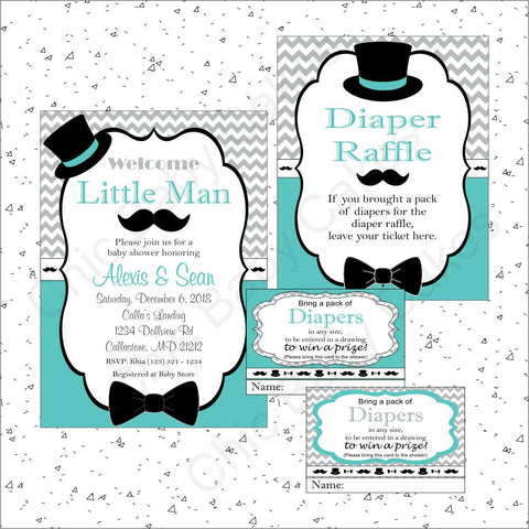Little Man Invite Raffle Bundle - Teal, Gray, Black