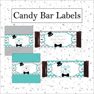 Little Man Candy Bar Wrappers, Teal & Gray