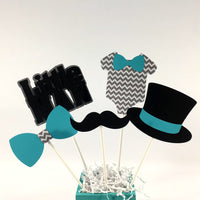 Teal and Gray Little Man Centerpiece Sticks