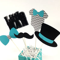 Little Man Centerpiece Sticks - Teal, Gray