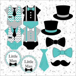 Little Man Diaper Cake Clipart, Teal & Gray