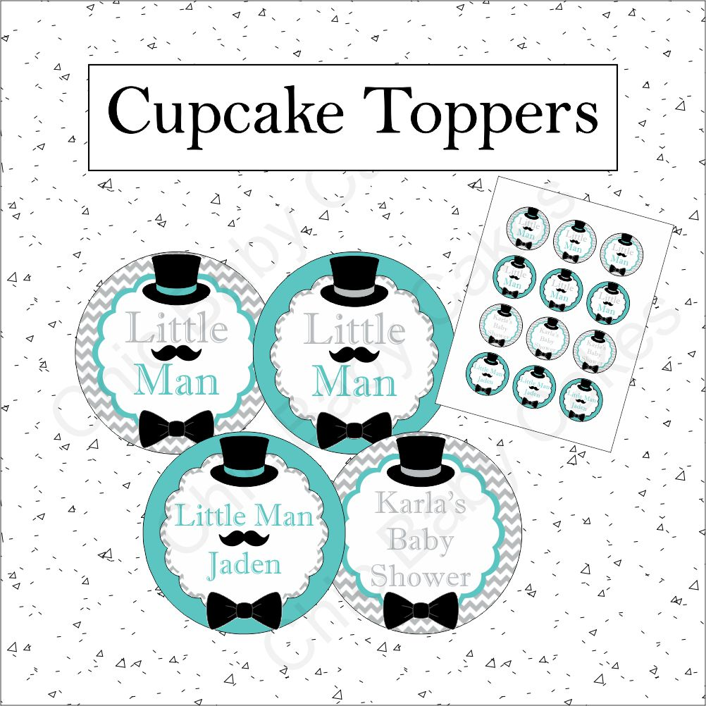 Printable Little Man Cupcake Toppers - Teal, Gray