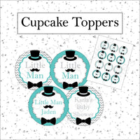 Little Man Cupcake Toppers, Teal & Gray