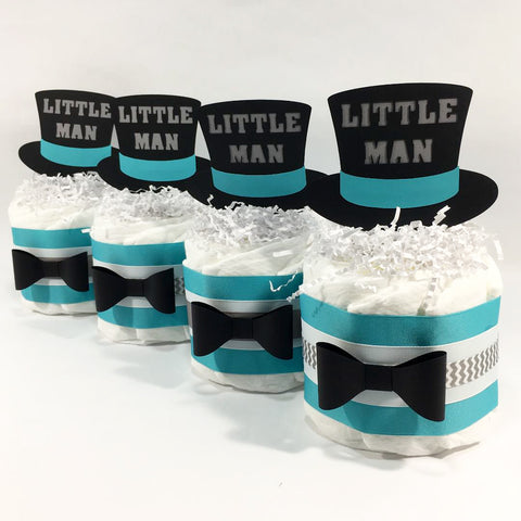 Little Man Mini Diaper Cakes - Teal, Gray