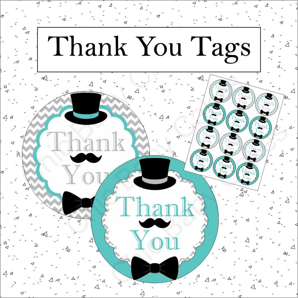 Teal & Gray Little Man Thank You Tags