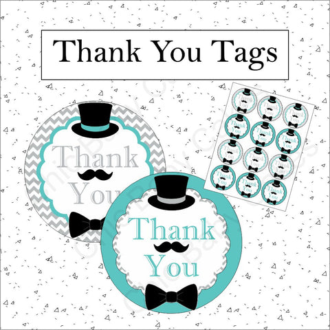 Printable Little Man Thank You Tags - Teal, Gray