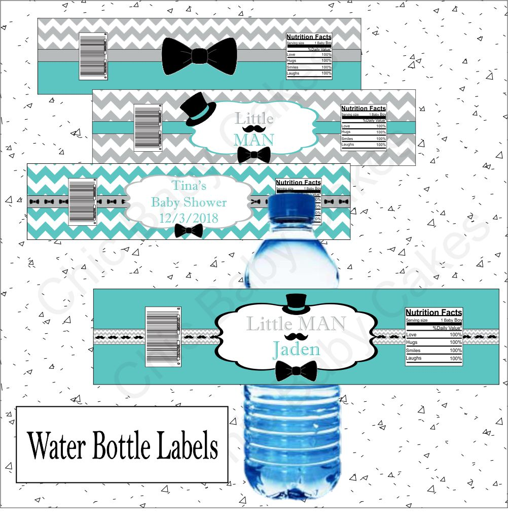 Little Man Water Bottle Labels - Teal, Gray