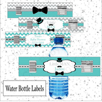 Little Man Water Bottle Labels, Teal & Gray