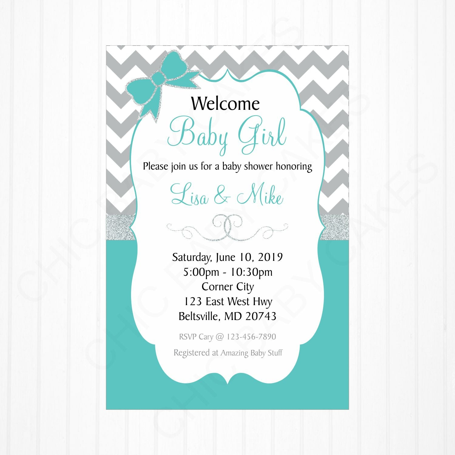 Teal and Gray Girl Digital Baby Shower Invite