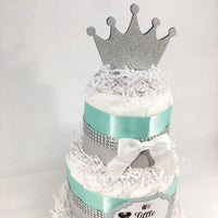 Little Princess 3-Tier Diaper Cake - Teal, Silver