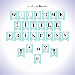 Printable Little Princess Banner - Teal, Silver