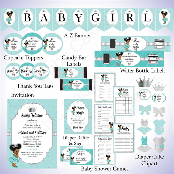 Teal & Silver Little Princess Baby Shower Decoration Pack