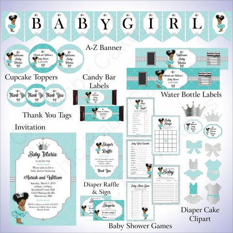 Printable Princess Decorations Pack - Teal, Silver