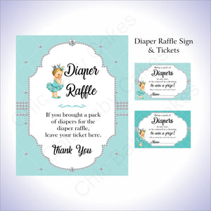 Teal & Silver Girl Diaper Raffle Set, Blonde