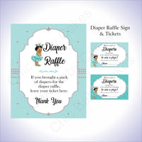 Teal & Silver Girl Diaper Raffle Set, Brown
