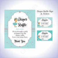 Teal & Silver Girl Diaper Raffle Set, Brunette