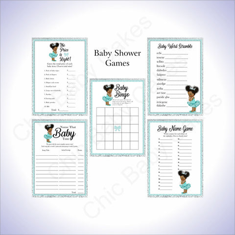 Princess Baby Shower Game Pack - Teal, Silver