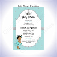 Teal & Silver Girl Baby Shower Invitation, Brown