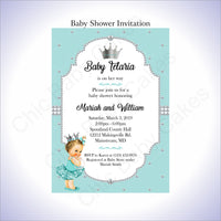 Teal & Silver Girl Baby Shower Invitation, Brunette