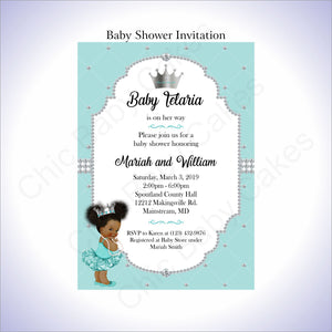Teal & Silver Girl Baby Shower Invitation, Afro