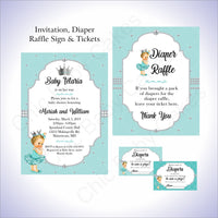 Teal & Silver Girl Baby Shower Invite Set, Blonde